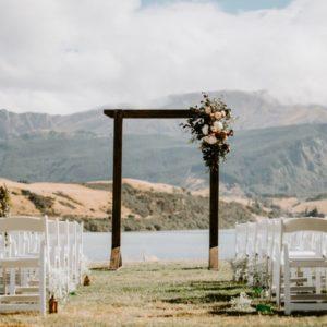 Dark Wooden Arch wedding alter hire