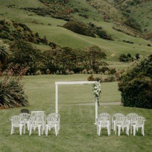 White Wooden Wedding Arch