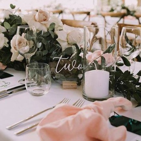 Pink Table set up, round table number