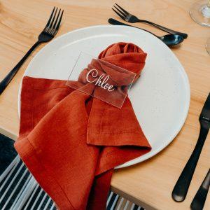 Premium Linen Napkins Brick Red