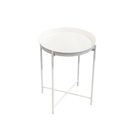White Industrial Side Table