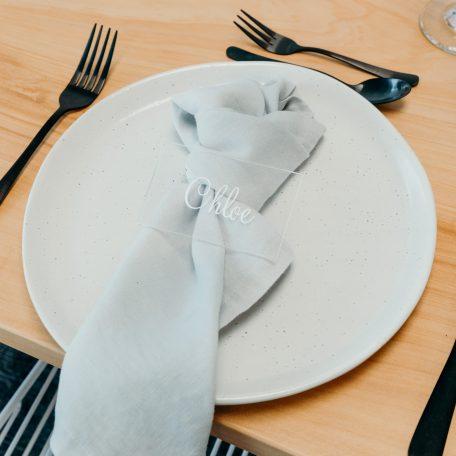 Premium Linen Napkins Silver Grey